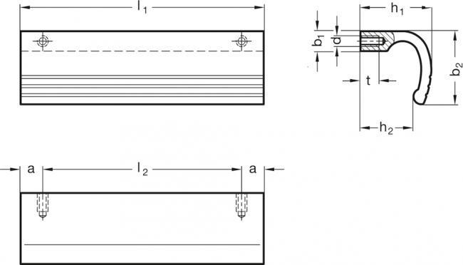 Uchwyty bezpieczne GN 730 - rysunek techniczny