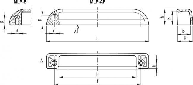 Uchwyty boczne z osłoną MLP - rysunek techniczny