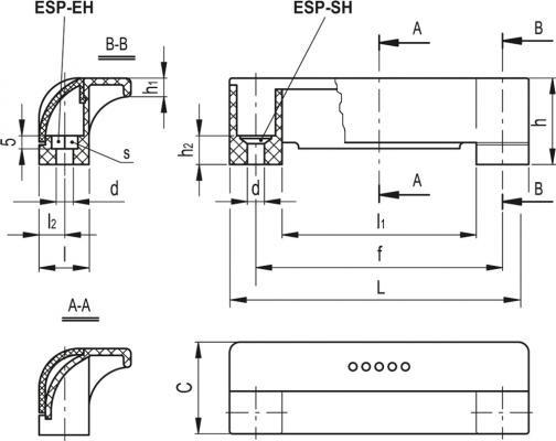 Uchwyty bezpieczne ESP. - rysunek techniczny