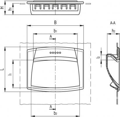Uchwyty kasetowe (mocowanie na wcisk) EPR-PF - rysunek techniczny