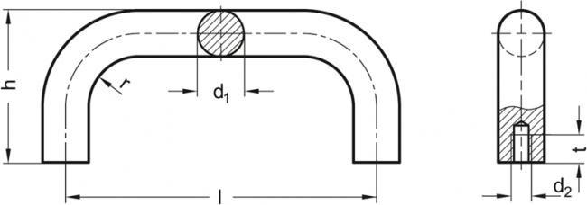 Uchwyt GN 426-AL-28-350-SR - rysunek techniczny