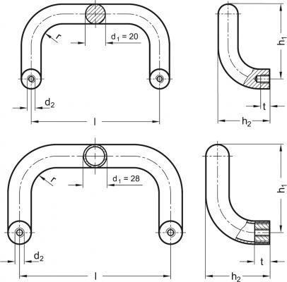 Uchwyt odgięty GN 426.1-AL-28-250-SR - rysunek techniczny