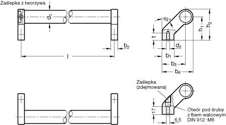 Uchwyt rurowy odgięty GN 333-28-600-B-ES - rysunek techniczny