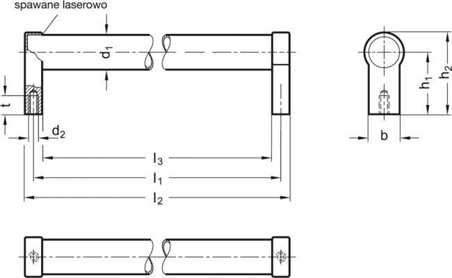 Uchwyty rurowe GN 333.5 - rysunek techniczny