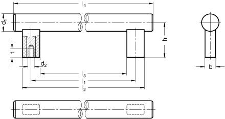 Uchwyty rurowe GN 666 - rysunek techniczny