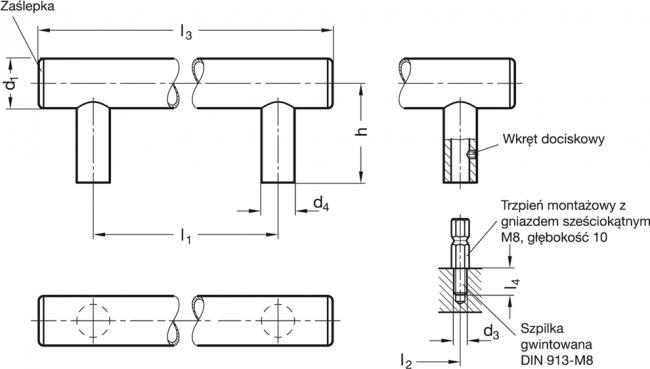 Uchwyty rurowe GN 666.7 - rysunek techniczny