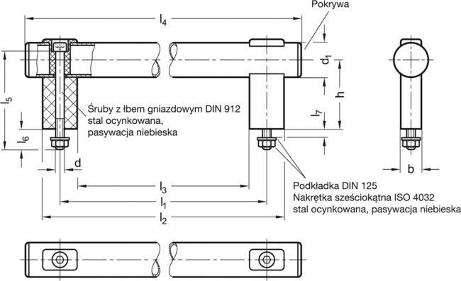 Uchwyty rurowe GN 666.1-NG - rysunek techniczny