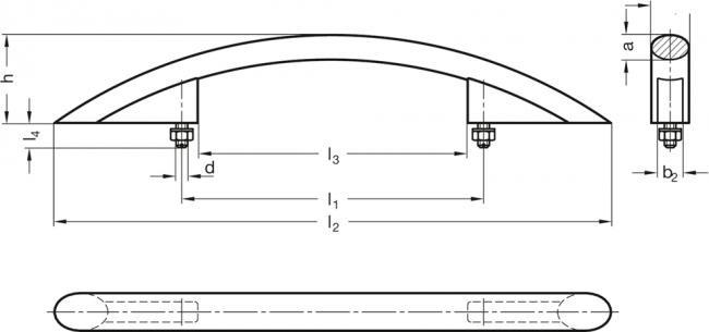Uchwyt łukowy GN 665-26-350-SW - rysunek techniczny