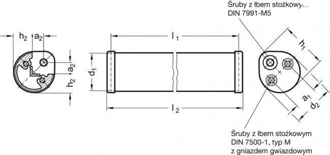 Uchwyty brzegowe GN 481 - rysunek techniczny