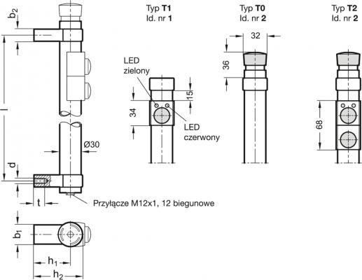 Uchwyty rurowe z przełącznikiem GN 331 - rysunek techniczny