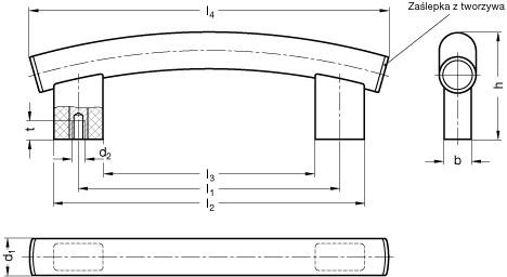 Uchwyt rurowy łukowy GN 666.4-30-M8-400-ES - rysunek techniczny