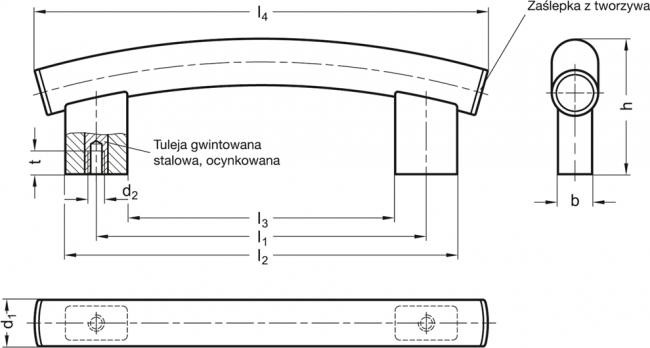 Uchwyty rurowe łukowe GN 666.4-NG