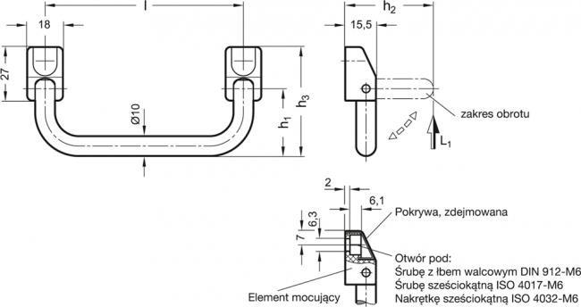 Uchwyty składane GN 425.5-NI - rysunek techniczny