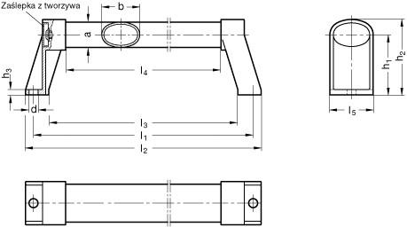 Uchwyty rurowe owalne GN 334.1 - rysunek techniczny