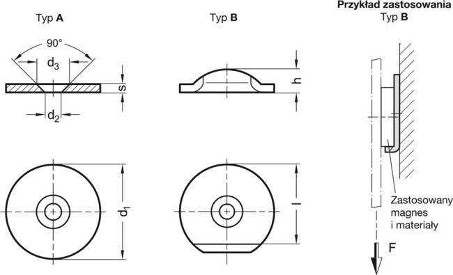 Podkładki do magnesów GN 70 - rysunek techniczny