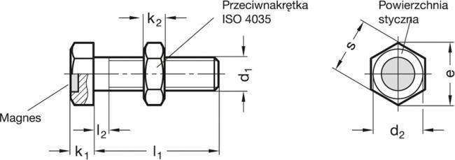 Śruby zderzakowe z magnesem GN 251.6