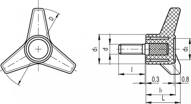 Pokrętła trójramienne VB.639 p