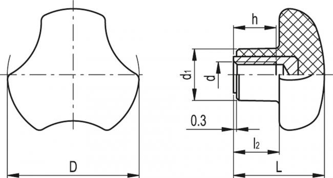 Pokrętła trójramienne VTT
