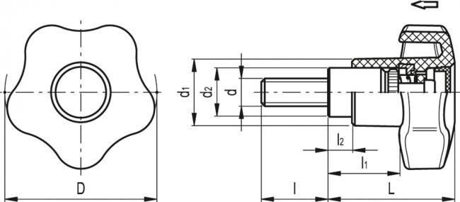 Pokrętła przestawne z występami VCTS-Z-SST-p