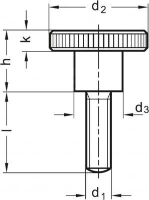 Pokrętła radełkowane DIN 464-NI