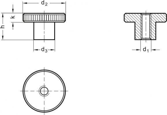 Nakrętki radełkowane DIN 466