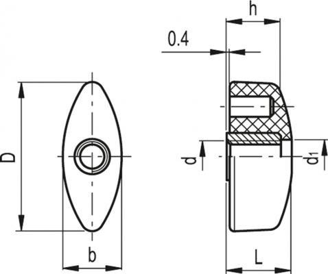 Nakrętki motylkowe CT.476 FP - rysunek techniczny