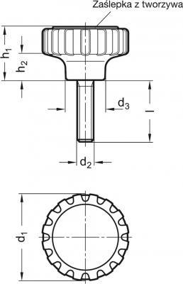 Pokrętła radełkowane GN 7336-NI