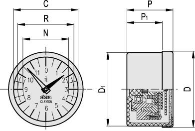 Analogowe wskaźniki obrotów z napędem grawitacyjnym GA11 GA12 - rysunek techniczny