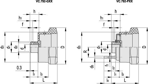 Pokrętła z występami do wskaźników położenia VC.792-XX