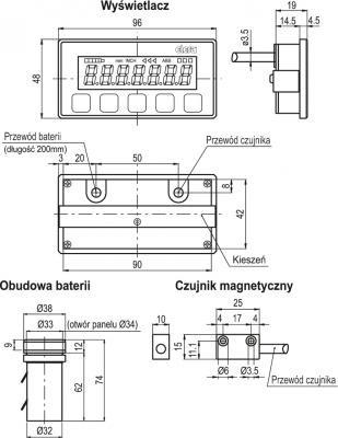 Wskaźnik położenia z czujnikiem magnetycznym MPI-15 - rysunek techniczny