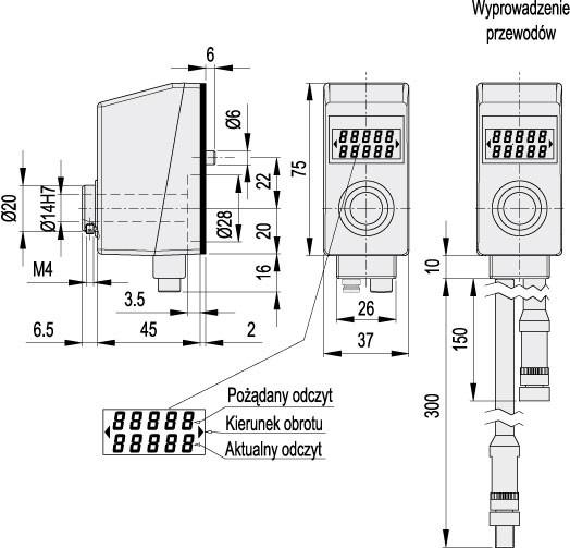 Elektroniczne wskaźniki położenia z napędem bezpośrednim DE51 - rysunek techniczny