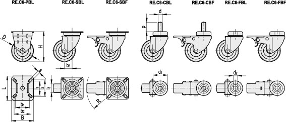 Zestawy kołowe z wieńcem poliuretanowym do zastosowań ogólnych RE.C6 - rysunek techniczny