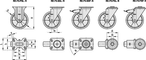 Zestawy kołowe z nalewanym wieńcem poliuretanowym RE.F5-N - rysunek techniczny