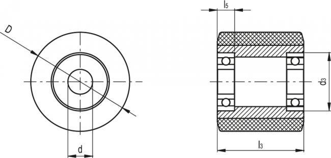Rolki z nalewanym wieńcem poliuretanowym RE.G5 - rysunek techniczny