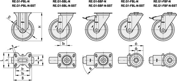 Koła z wieńcem z gumy termoplastycznej z obudową stalową RE.G1-N - rysunek techniczny