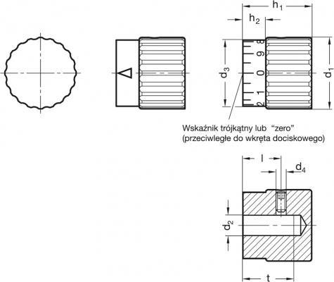 Pokrętła sterujące radełkowane GN 436.1