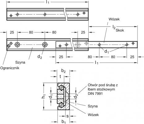 Teleskopowe prowadnice liniowe GN 2404