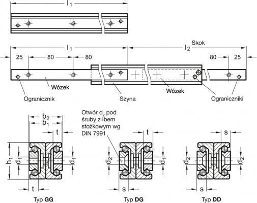 Teleskopowe prowadnice liniowe GN 2408
