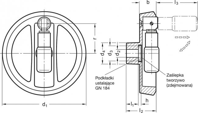 Koła ręczne dwuramienne z rękojeścią obrotową składaną bezpieczną GN 924.7 - rysunek techniczny
