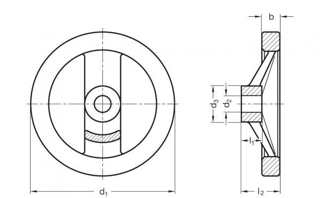 Koła ręczne dwuramienne GN 324-A - rysunek techniczny