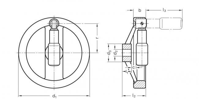 Koła ręczne dwuramienne z rękojeścią składaną bezpieczną GN 322.7 - rysunek techniczny