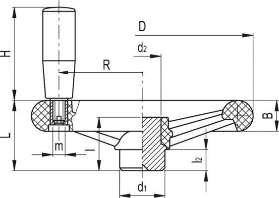 Koła ręczne trójramienne z rękojeścią na obrzeżu VR.FP+I - rysunek techniczny