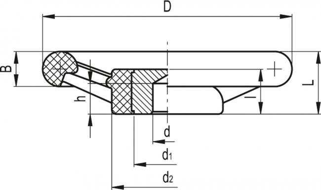 Koła ręczne trójramienne VRU. - rysunek techniczny