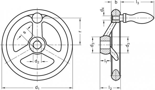 Koła ręczne wieloramienne z rękojeścią na obrzeżu DIN 950-F - rysunek techniczny