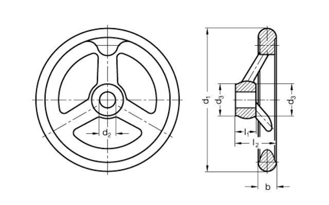 Koła ręczne wieloramienne GN 950.6-A - rysunek techniczny