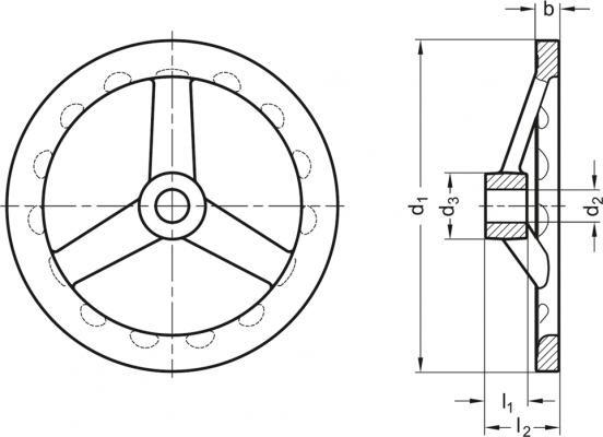 Koła ręczne wieloramienne GN 949-A - rysunek techniczny