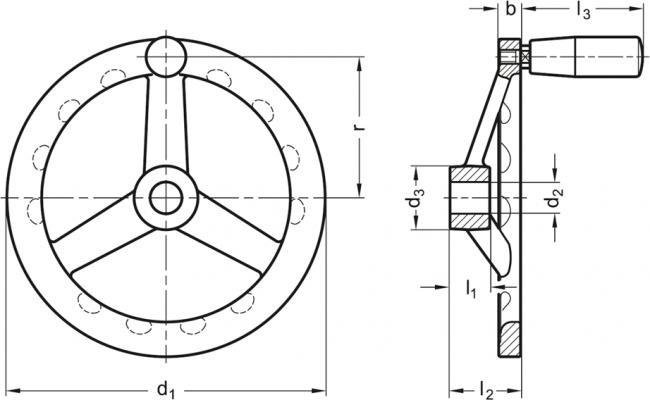 Koła ręczne wieloramienne z rękojeścią obrotową na obrzeżu GN 949-D - rysunek techniczny