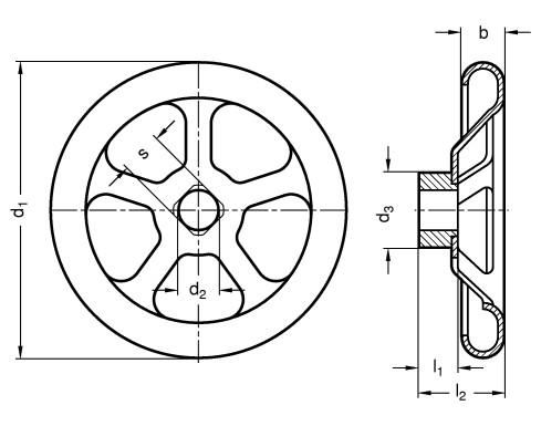 Koła ręczne wieloramienne tłoczone GN 227.2-A - rysunek techniczny