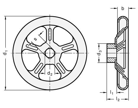 Koła ręczne wieloramienne tłoczone GN 227.1 - rysunek techniczny