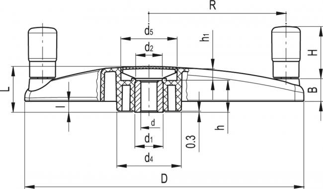 Koła trójramienne sterujące z rękojeściami obrotowymi ETK. - rysunek techniczny